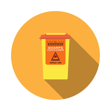 Vector isolated icon of sharps container with hinged lid and sticker with biohazard sign on the orange background with shadow.