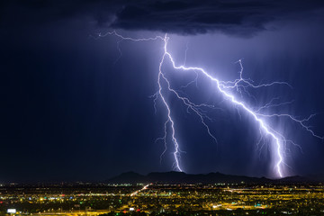 Lightning bolt strikes a mountain during a summer storm