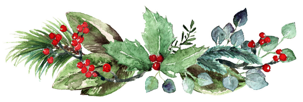 Watercolor Scandinavian Christmas Composition. Hand drawn winter decoration. Magnolia leaves, rosemary branch, spruce, eucalyptus, holly and pinecones bouquet.