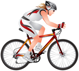 Mountain Bike Girl, cyclist biker racer, Bicycle race, Ecotourism, bicycle tourism, realistic vector illustration