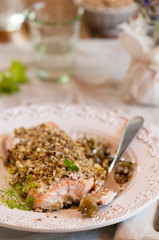 fillet of salmon with hazelnut and wild fennel