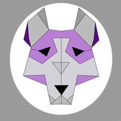 cute wolf or husky abstrct polygon art