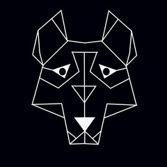 wolf or husky abstrct polygon art on a black background