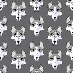 cute cartoon husky dog seamless pattern in gray colour
