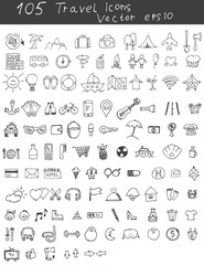 Drawn icons travel doodle set. Vector eps 10.