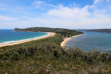 View to Pittwater and Peninsula Palm beach Sydney at Tasman Sea, Australia