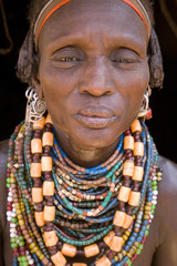 Portrait of a woman of the Galeb tribe, Lower Omo Valley, Ethiopia, Africa