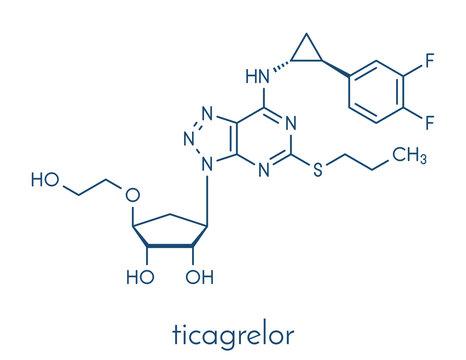 Ticagrelor platelet inhibitor drug. Used to prevent thrombosis. Skeletal formula.