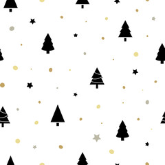 Christmas seamless pattern with black christmas trees, golden snow and stars. Winter Holidays design for wallpaper, web page background, wrapping paper