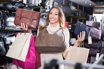 Woman customer holding new hand bag