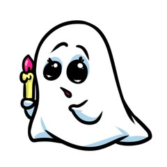 Little ghost fear cartoon illustration isolated image