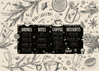 Christmas food menu for restaurant and cafe.
