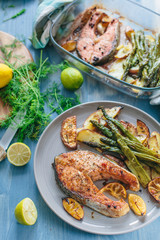 Roasted salmon with asparagus and potatoes