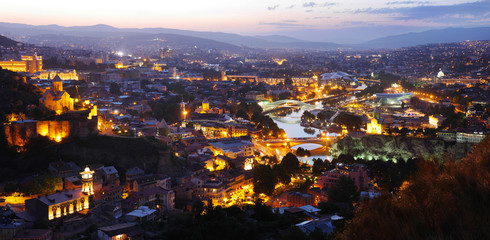 Panorama of Tbilisi at dusk.