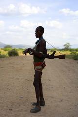 Young Ethiopian man carrying AK47. Ethiopia