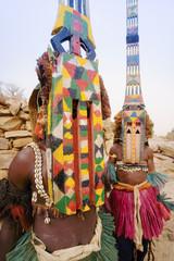 Africa, West Africa, Mali, Dogon Country, Bandiagara escarpment, Masked Ceremonial Dogon Dancers near Sangha