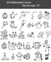 Set of Halloween icons doodle. Vector eps 10.