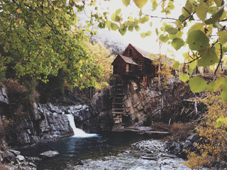 The Old Crystal Mill and Waterfall