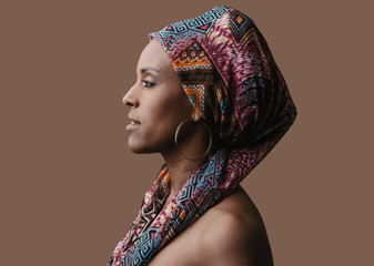 beautiful african woman wearing a traditional headwrap