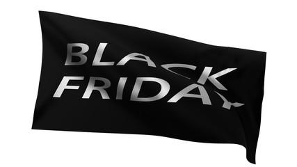 black friday sale flag. 3d illustration.