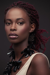 African Woman With Pink Dreadlocks