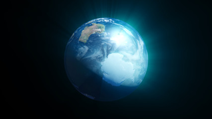 Planet earth with shine effect on black background. 3d rendering