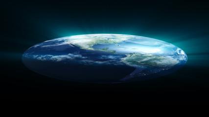 Flat Earth on black background. Digital illustration. 3d rendering