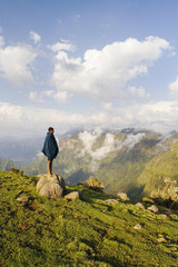 Africa, Ethiopia, The Simien Mountains National Park, UNESCO World Heritage Site, view looking towards the Nortern Escarpment near Sankaber, local shepherd boy
