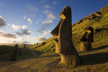 South America, Chile, Rapa Nui, Easter Island, giant monolithic stone Maoi statues at Rano Raraku