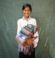 Smiling sarong seller. Angkor Wat. Cambodia.