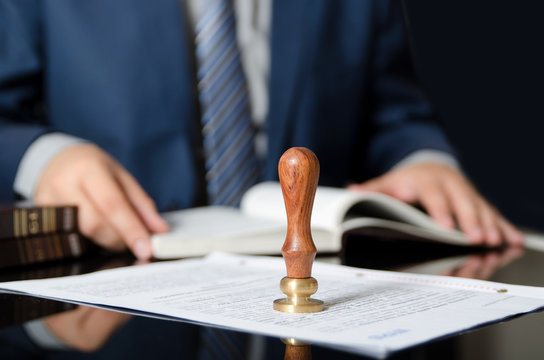 Lawyer or attorney at notary public office.