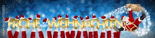 Buchstaben Frohe Weihnachten.Frohe Weihnachten Weihnachtsmann Auf Schlitten Lustig Umfliegt Hände