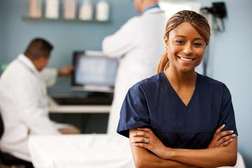 Exam Room: Nurse Stands in Examination Office