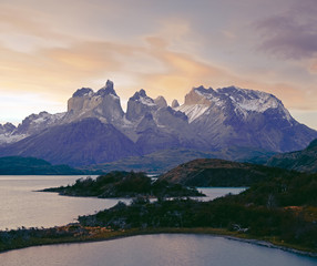 Cuernos del Paine rising up above Salto Grande, Torres del Paine National Park, Patagonia, Chile, South America