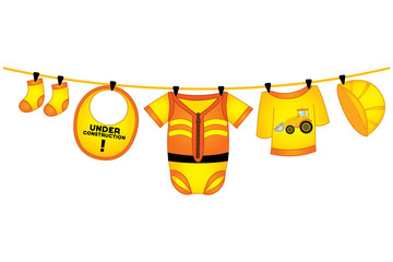 Vector Baby Boy Clothes in Construction Style Hanging on Line