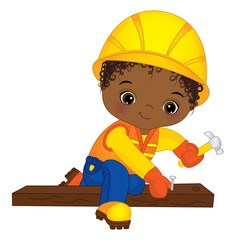 Vector Cute Little African American Boy Hammering Nails