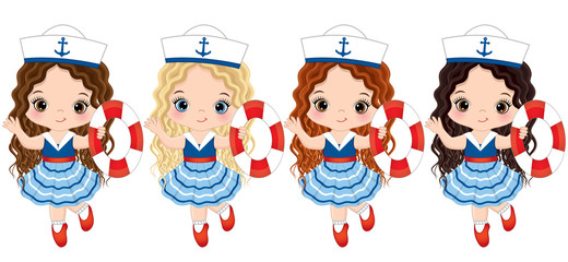 Vector Cute Little Girls Dressed in Nautical Style with Buoys