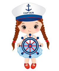 Vector Cute Little Girl Dressed in Nautical Style with Sheep Wheel