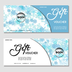 Gift voucher. Vector, illustration.Template for discount card, coupon, corporate certificate, ticket. Blue. Background for a Happy New Year and Merry Christmas
