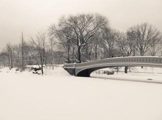 Winter Landscape - Snow Covered Bridge