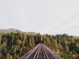 Man Walking on Abandoned Train Trestle