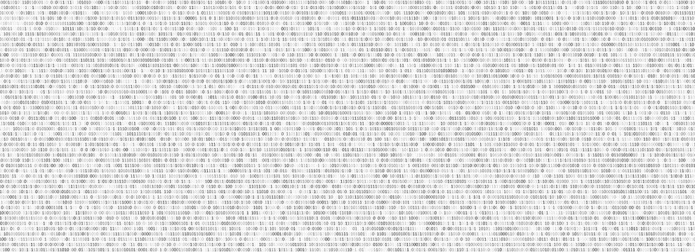 Binary code black and white background with two binary digits, 0 and 1 isolated on a white background. Algorithm Binary Data Code, Decryption and Encoding. Vector illustration.