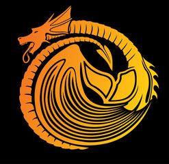 Vector art with stylized fire dragon on black background