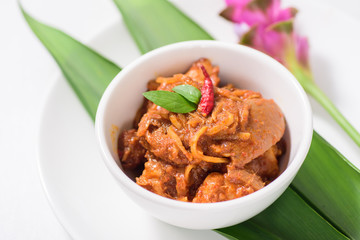 Northern Thai food (Kaeng Hang Le),spicy curry pork mixed with spices in a bowl