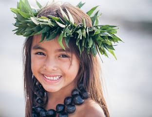 Portrait of a Smiling Young Traditional Hawaiian Hula Dancer Girl