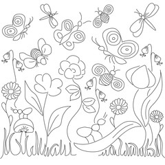 vector illustration in children's style on a theme flora and fauna, plants and insects