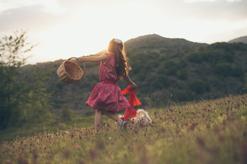 Child playing on a field
