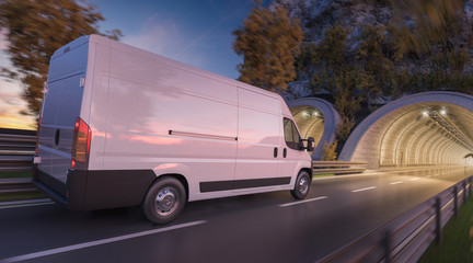White Delivery Van Going through a Tunnel