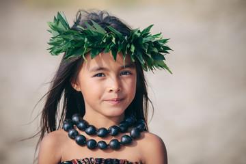 Portrait of a Young Traditional Hawaiian Hula Dancer Girl