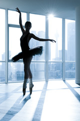 Ballerina in silhouette in front of a window